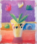 Flowers on the Counter in chalk pastels